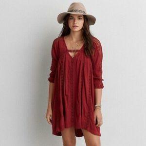 American Eagle Red Crochet Tunic Dress Boho Casual